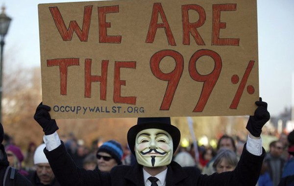 A protester at the ongoing Occupy Wall Street movement