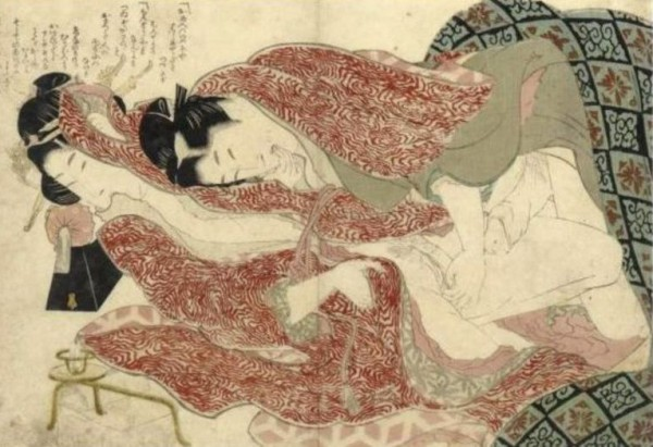 Katsushika Hokusai, Ehon tsuhi no hinagata (illustration of a loving couple), 1811-1816