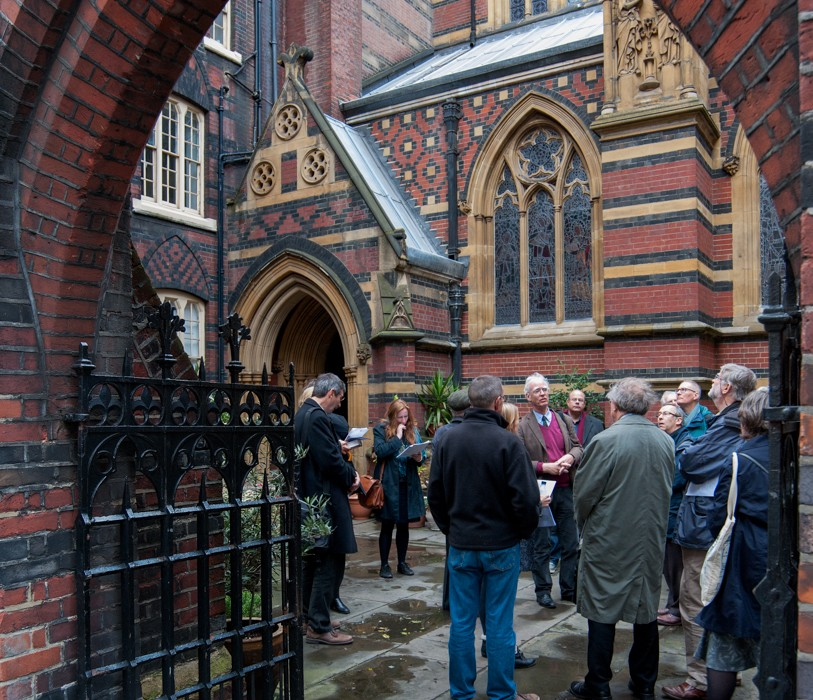 Andrew Saint, General Editor of the Survey, outside All Saints, Margaret Street