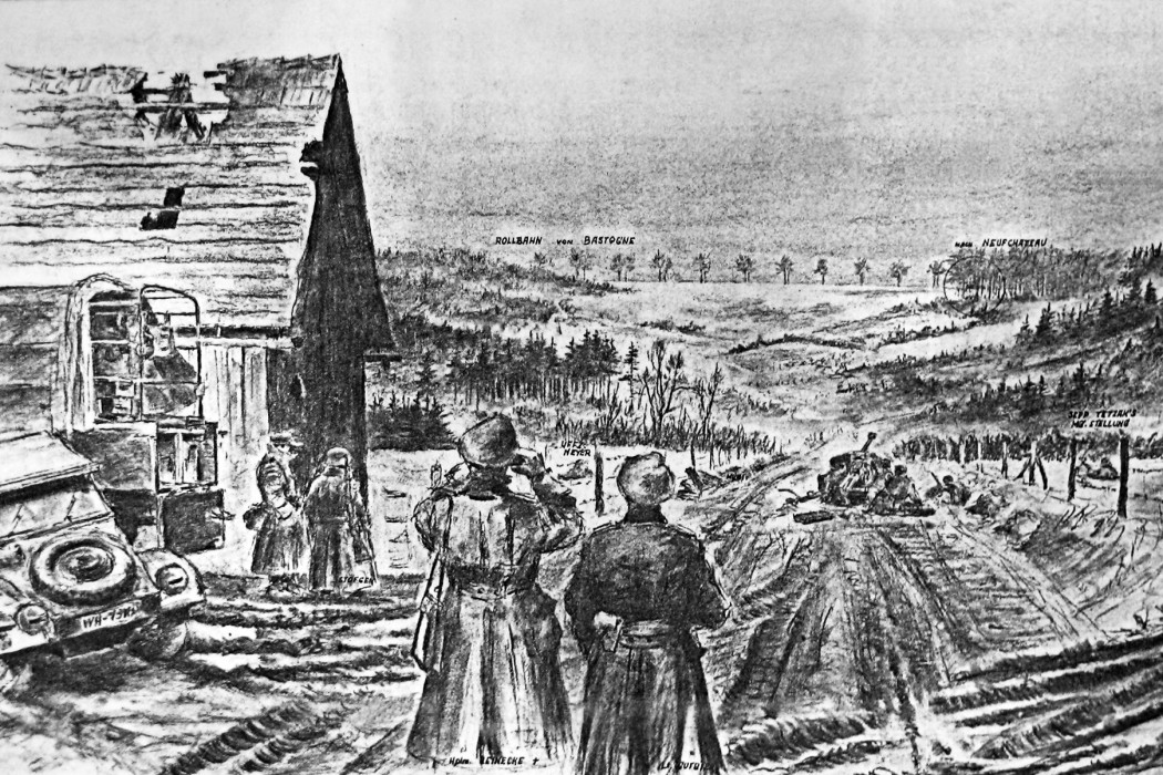 Soldier's drawing of Bastogne