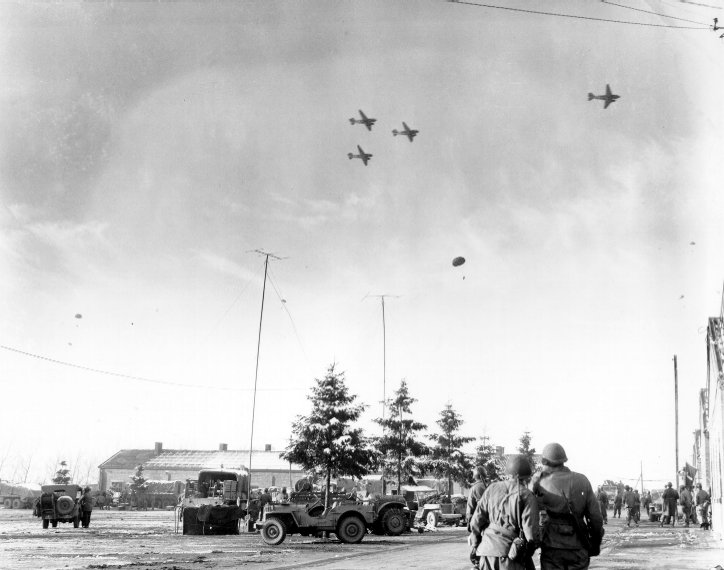 C-47's drop supplies to Bastogne