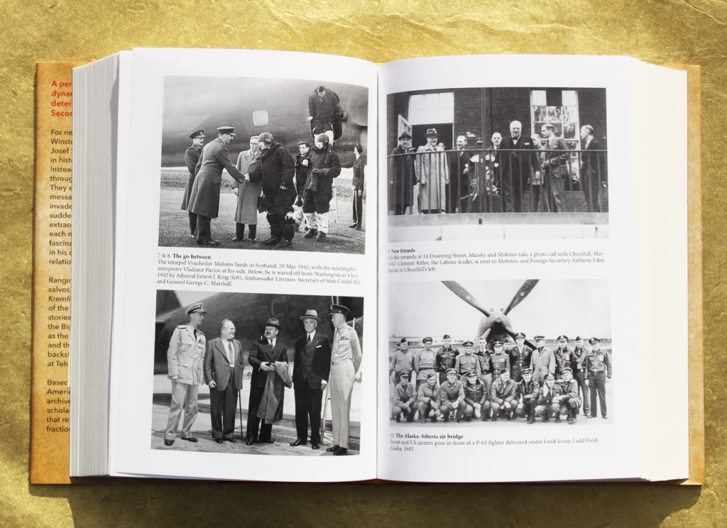 Plates 7,8,9, and 10 from the book. Left to right: 1. Vyacheslav Molotov lands in Scotland, May 1942 2. Molotov is met by Admiral Ernest J. King (left), Ambassador Litvinov, Secretary of State Cordell Hull and General George C. Marshall, June 1942 3. Molotov, Maisky and Churchill on the veranda at 10 Downing Street, May 1942 4. Soviet and US airmen pose in front of a P-63 fighter, Alaska 1943