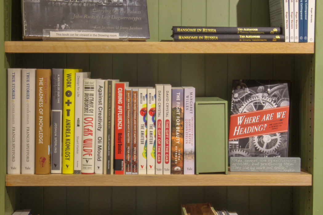 A shelf of primarily Yale and Verso books