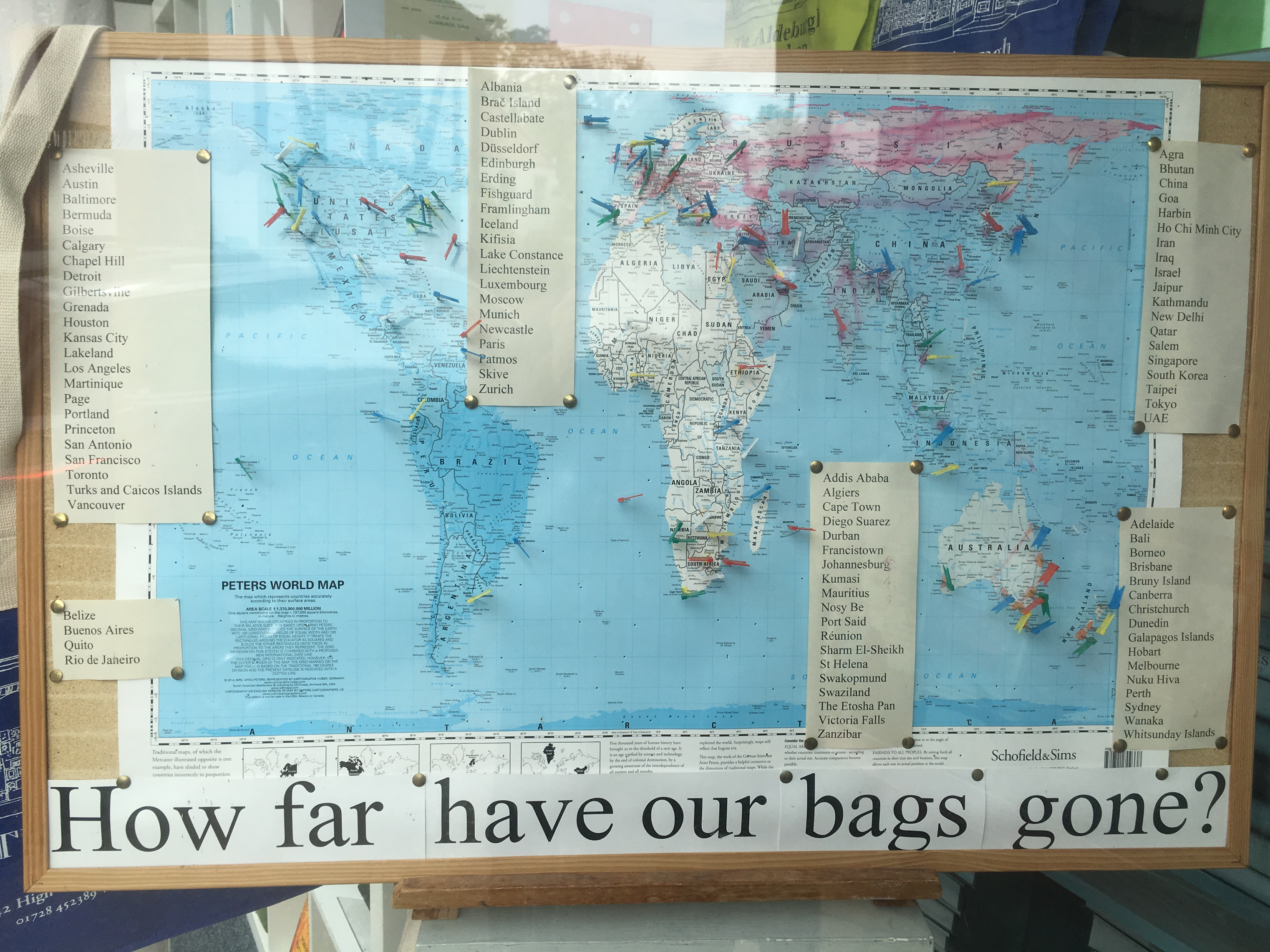 A map showing how far Aldeburgh bookshop's tote bags have gone