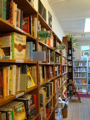 The shelves in Housman Bookshop