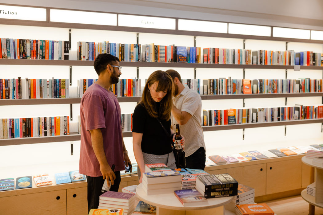 Customers peruse the book tables at The Portobello Bookshop